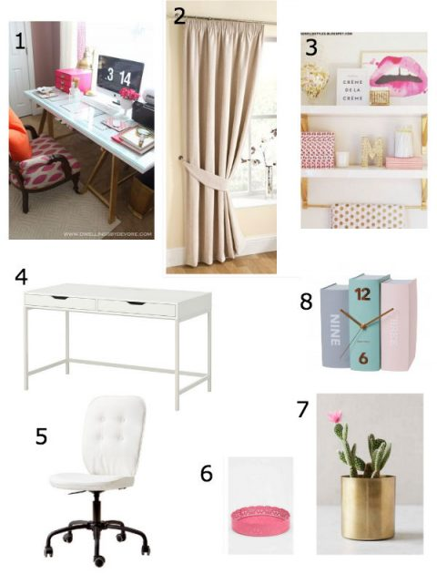 Home Office Mood Board inspired by white furniture and pops of pink, gold and blue // Life with Rosie