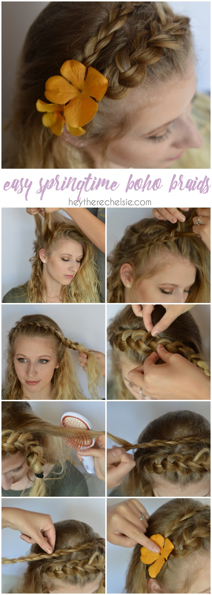 An easy springtime boho braid tutorial. This easy double braid looks beautiful with a few flowers added in; takes about 10 minutes to complete and is the prettiest spring time braid! Check out this tutorial and two more easy springtime hair tutorials to rock as the weather warms up // www.heytherechelsie.com
