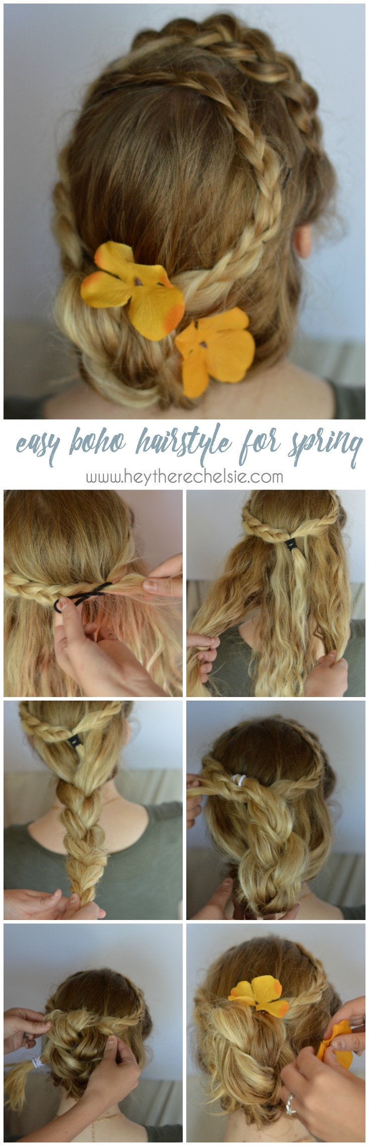 Start off with the easy braided boho crown and add one more braid to create a beautiful and romantic updo! Super easy to acheive [ad] #GoodyStyle // www.heytherechelsie.com