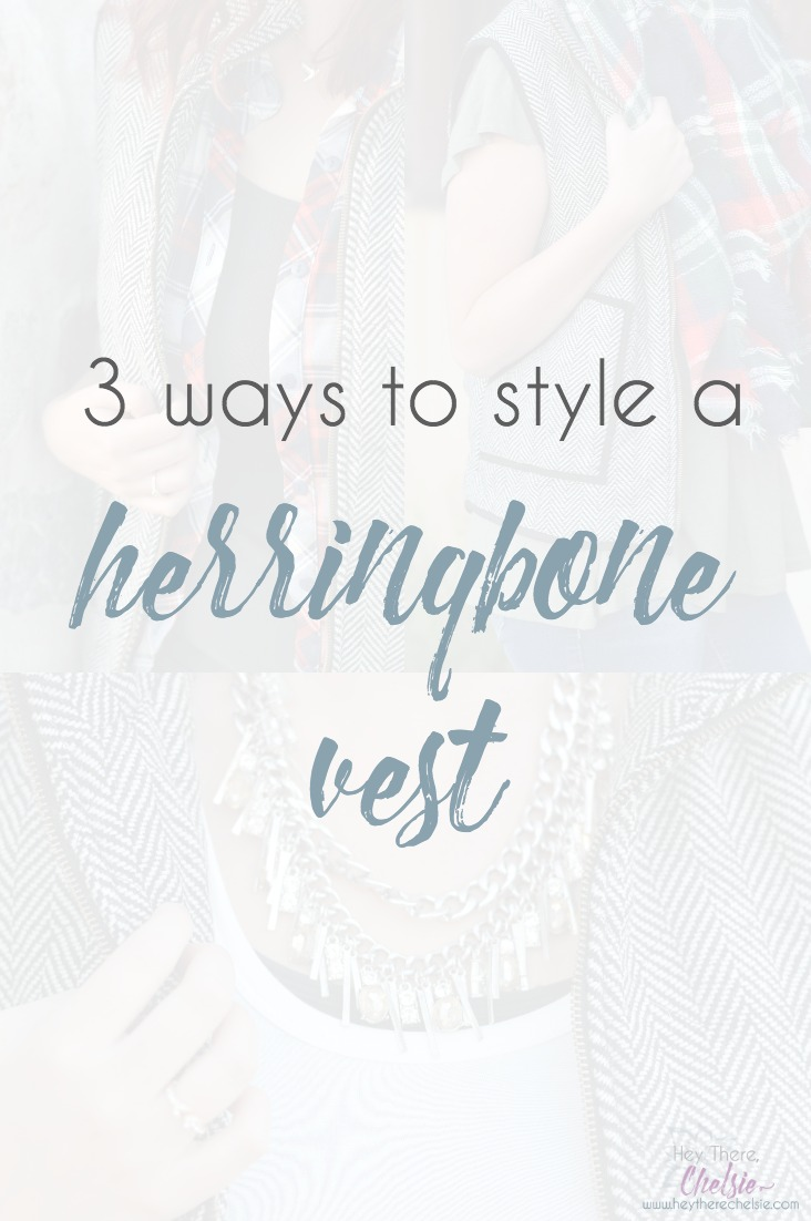 Do you own a herringbone vest but aren't sure what to wear with it? I've laid out 3 different herringbone vest outfits on this post; giving you all the details to help you choose what to wear with your vest in the spring or fall // www.heytherechelsie.com
