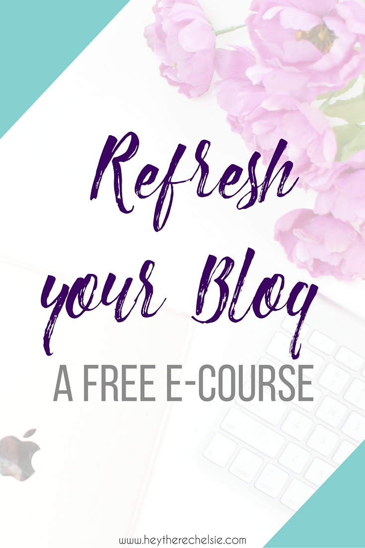 A Free e-course: Refresh Your Blog! Checlsie shares all her tips and tricks for refreshing your blog on the back end and the front, assessing the user-friendliness of your site, cleaning out your social media profiles and refreshing your blogging strategies! Sign up for all the content, FOR FREE! // www.heytherechelsie.com