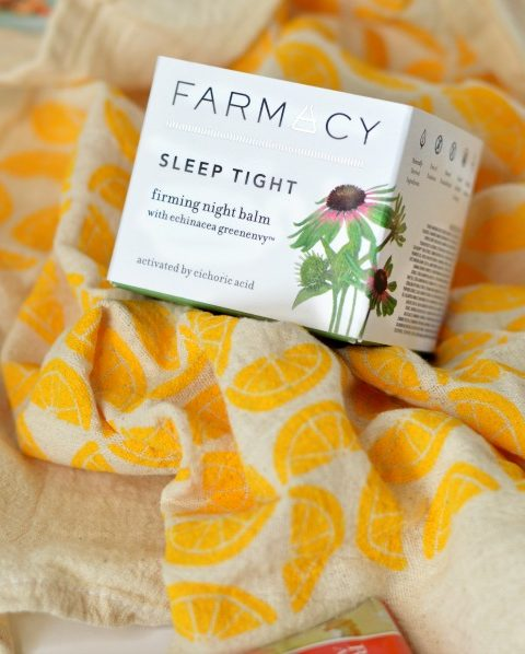 "Farmacy Sleep Tight Night Balm & Noon Design Shop ""Lemons"" Flour Sack Tea Towel from April Popsugar Musthave 2016 box // Hey There. Chelsie"