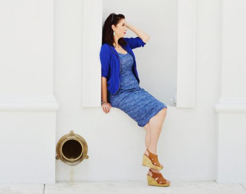 Blue Summer Dress Outfit Idea, paired with light jacket, wedges and statement earrings // Hey There, Chelsie