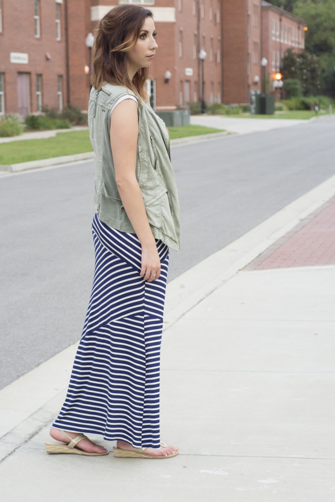 Summer to Fall maxi dress! Add a vest to a summery maxi to help transition from summer to fall! Look for stripes that shape your body and layer with a necklace! // Hey There, Chelsie - Photo By Whitney Major's Photography