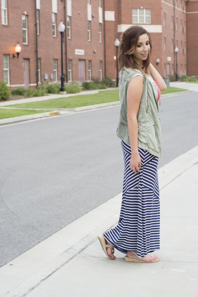 Summer to Fall maxi dress! Add a vest to a summery maxi to help transition from summer to fall! Look for stripes that shape your body and layer with a necklace! // Hey There, Chelsie - Photo by Whitney Major's Photograhy