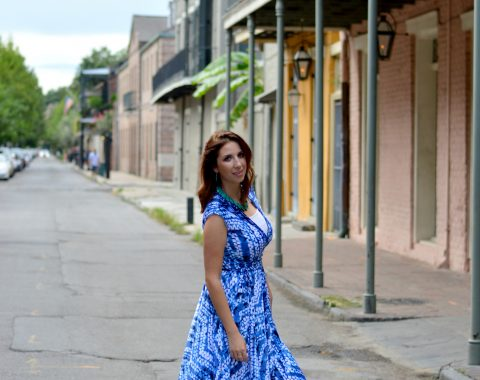 Blue Wrap Dress from Burlington Coat Factory! The perfect summer dress for a day of exploring downtown New Orleans, French Quarter! Full Outfit Details, and a complete guide to NOLA found here! // Hey There, Chelsie