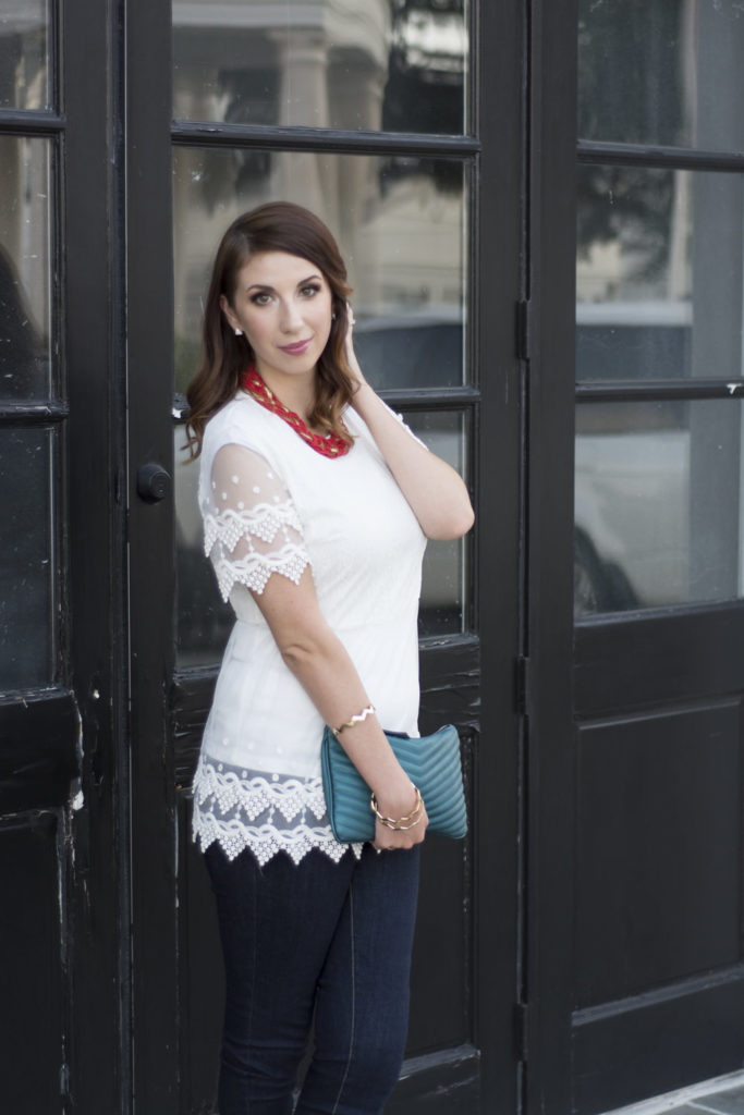 How to transition your white summer tops to fall outfits. Here are three tips to wear your white shirts after Labor day, including pairing your outfit with bold jewel colors accessories! // Hey There, Chelsie