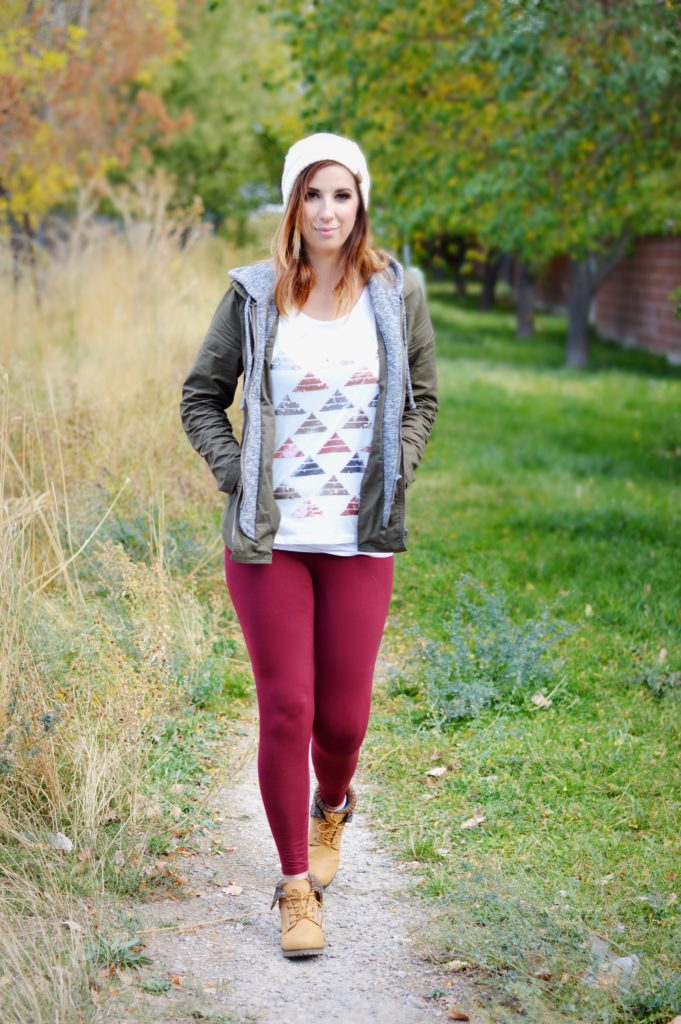 Maroon Legging and Green Army fall outfit, featuring affordable finds from ThredUp and Lularoe Dupes from Simple Addiction // Hey There, Chelsie