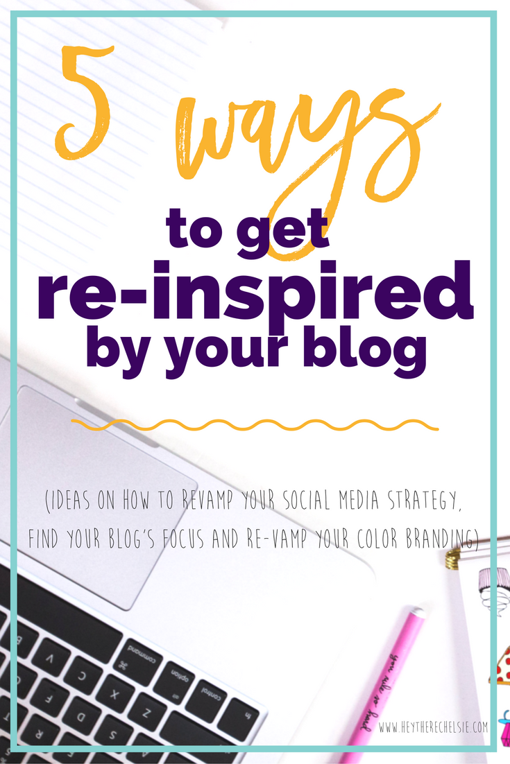 5 Ways to get Re-Inspired by your Blog (including ideas on how to revamp your social media strategies, how to find a color palette that matched your brand and a few tips on how to grow your Instagram.) If you are experiencing blogger burnout and need to figure out how to get some inspiration to blog, this in depth post will give you several ideas on how to get out of your rut! // Hey There, Chelsie