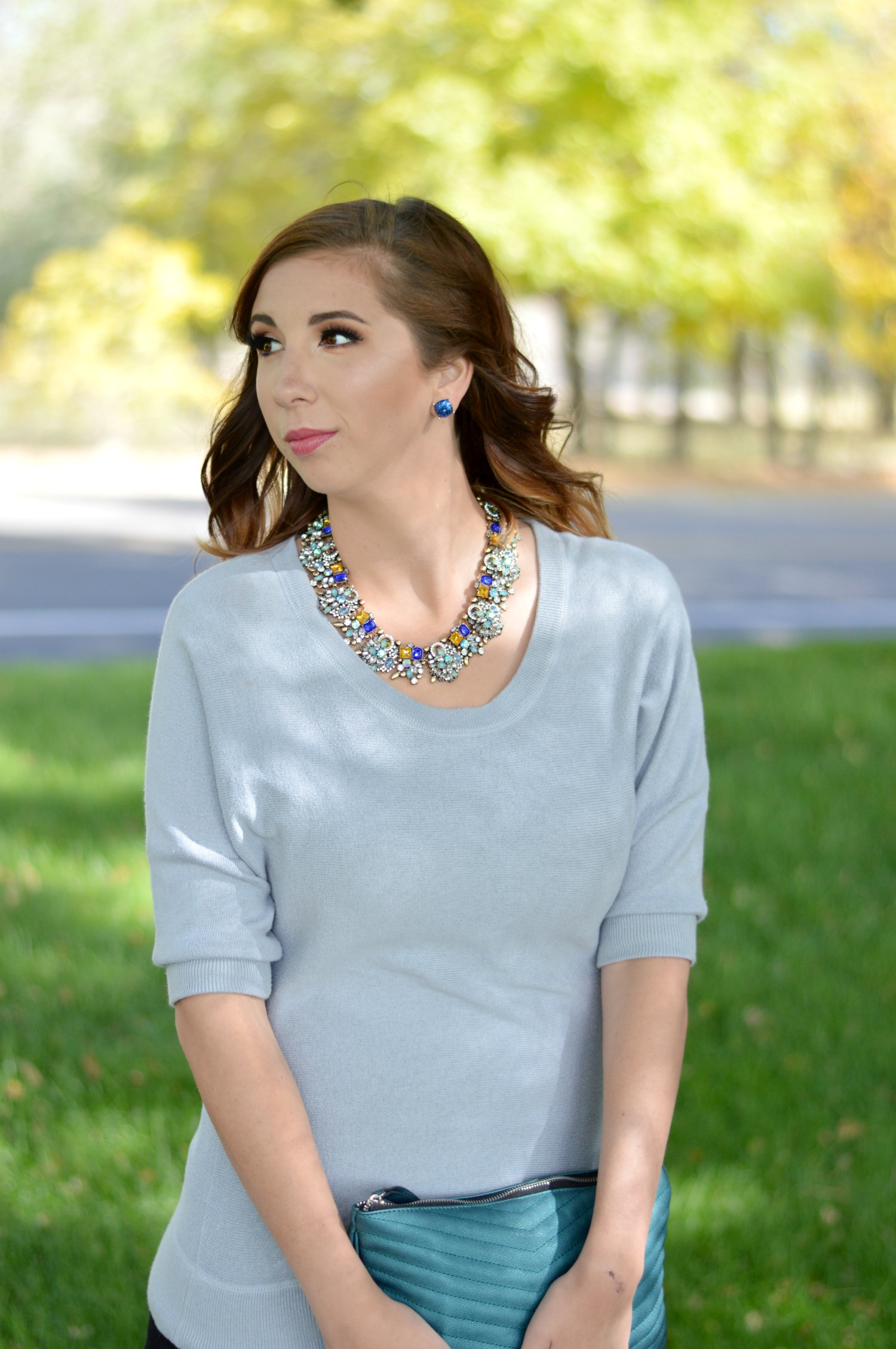 Seasonal Transitional outfit: This outfit idea is perfect for summer to fall or winter to spring! The loft top is from Thredup and the necklace is from Happiness Boutique. // Hey There, Chelsie