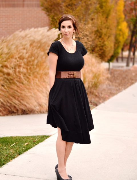 Midi-Length Black Dress completely customized by eShakti. I added capsleeves and changed the neckline for a more modest silhouette. // Hey There, Chelsie