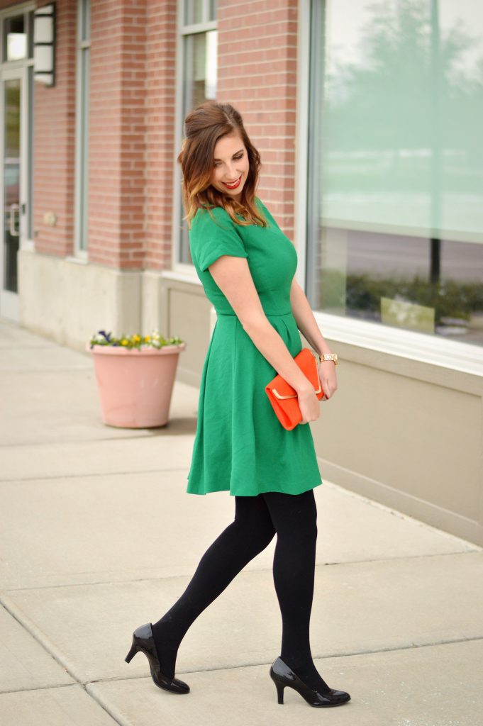 Holiday Outfit featuring a Limited Green dress, black fleece tights, red clutch, and statement necklace. This outfit is perfect for any holiday or new year's eve party! // Hey There, Chelsie