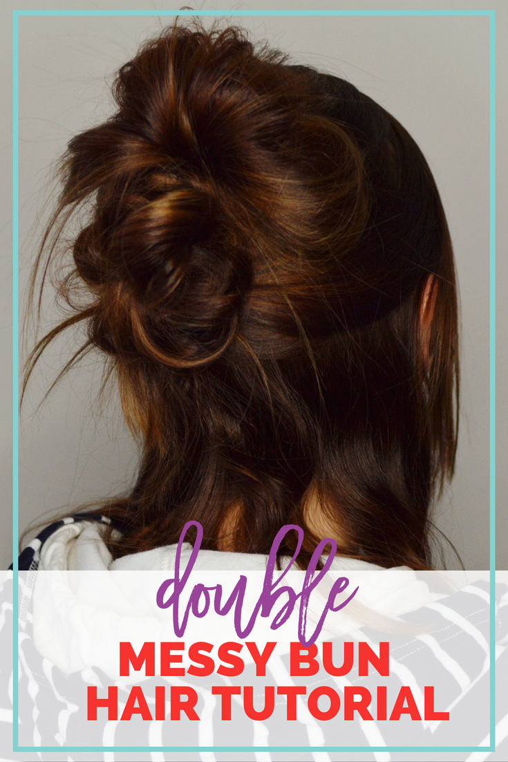 Double Messy Bun Hair Tutorial - an easy way to take your messy bun to the next level! This hair style takes minutes to acheive and looks effortless & put together at the same time! // Hey There, Chelsie
