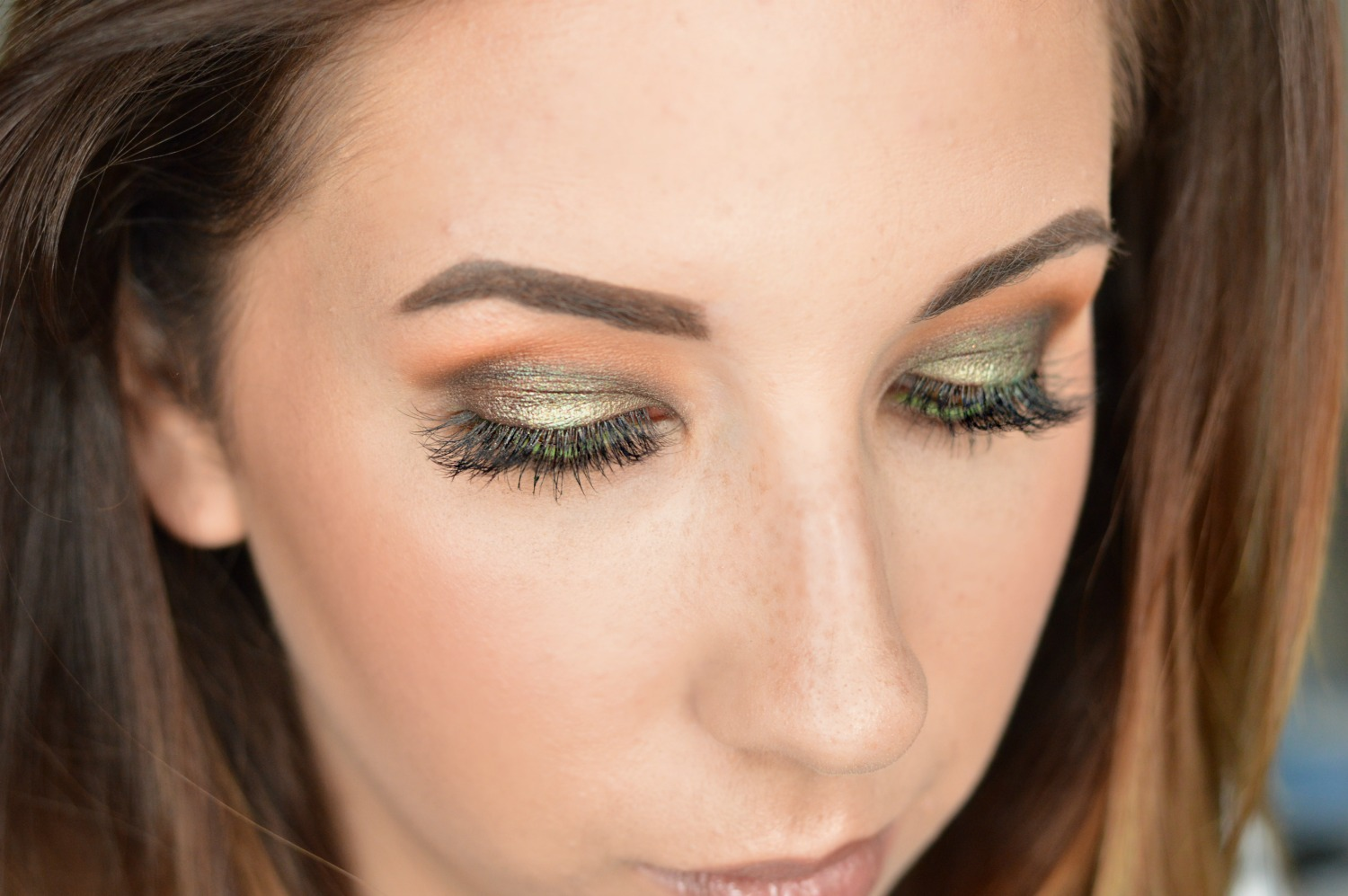 Gold and Green smokey eye created with the Morphe x Kathleen Lights Palette // Hey There, Chelsie