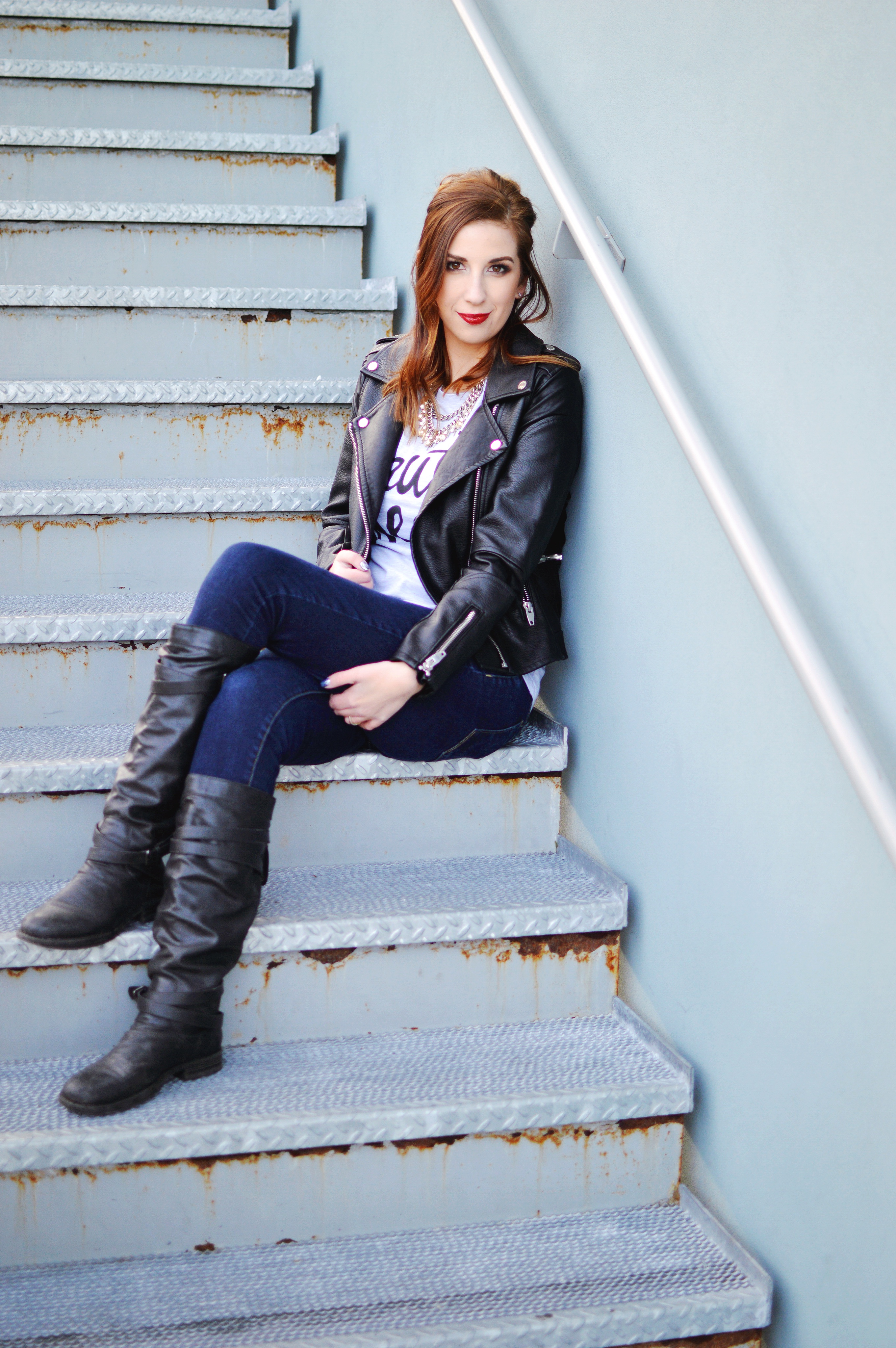 Winter Leather Jacket Outfit Idea // Hey There, Chelsie