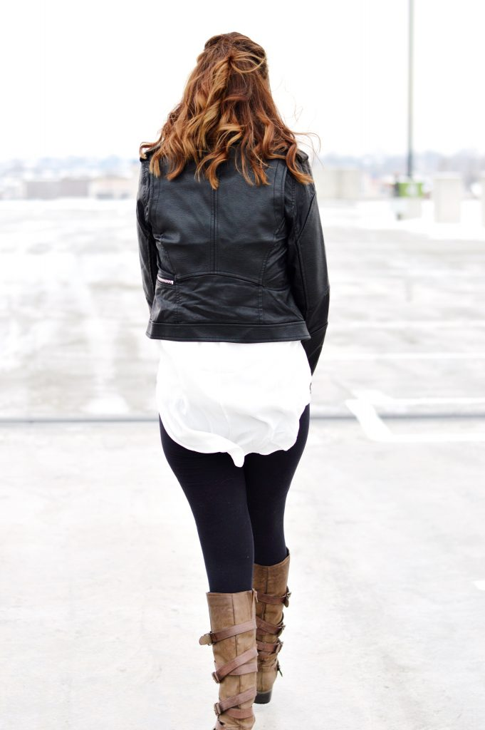 Leather Moto Jacket Outfit for Winter, featuring white tunic and fringe scarf! // Hey There, Chelsie