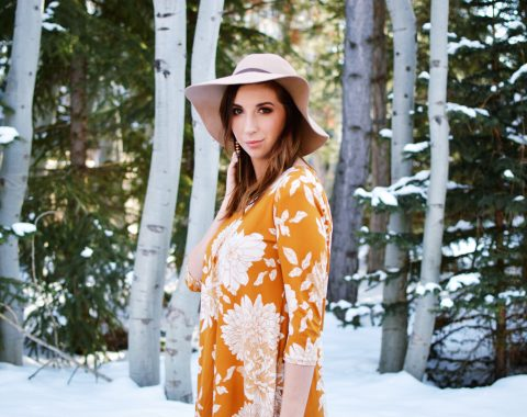Spring Outfit Idea featuring Yellow Floral Tunic, Floppy Hat, and Booties // Hey There, Chelsie
