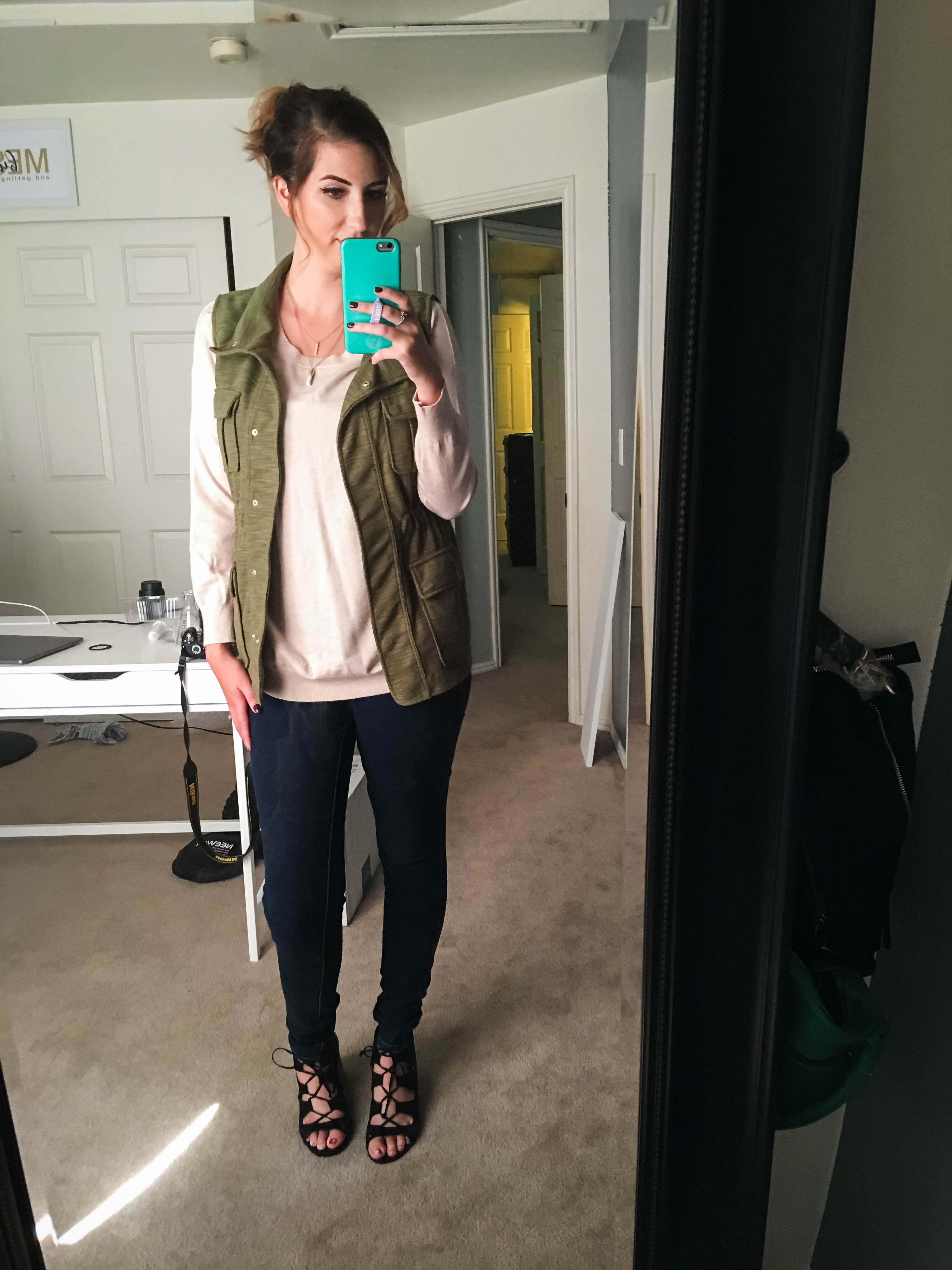 Green Utility Vest for Fall Outfit - Stitch Fix Reveal // Hey There, Chelsie