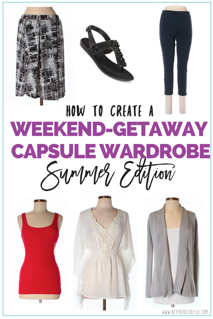 How to build a Capsule Wardrobe for a weekend getaway! This summer capsule wardrobe was built on a budget and is perfect for a weekend getaway! This is an easy and affordable capsule wardrobe for traveling, as well! // Hey There, Chelsie