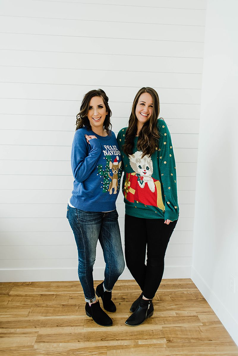 How to Style an Ugly Christmas Sweater - Christmas Sweater Outfit Idea // Hey There, Chelsie