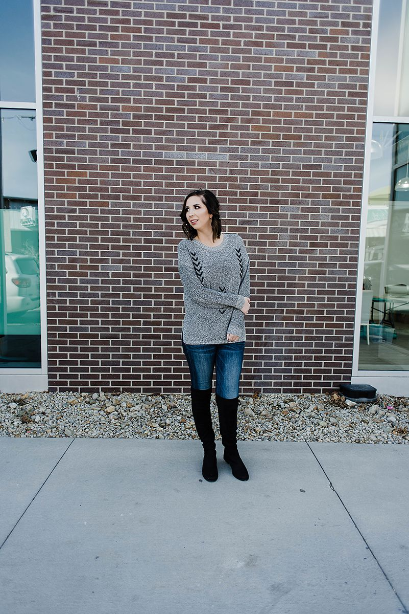 Grey Chevron Sweater from Wight Gold - Sweater Outfit for Winter, Over The Knee Boot Idea, Sweater with Boots, Cozy Outfit Idea // Hey There, Chelsie