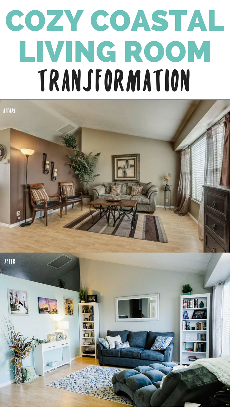 Cozy Costal Inspired Living Room Transformation - here's how we re-did our very dark living room, what paint colors we choose for our living room, our inspiration for the living room and a ton of living room decor ideas and inspiration // Hey There, Chelsie