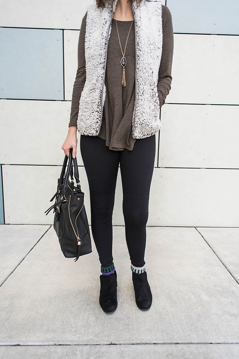How to wear a Sherpa Vest - here are 3 ideas on how to wear your sherpa vest and how to style your sherpa vest! // Hey There, Chelsie