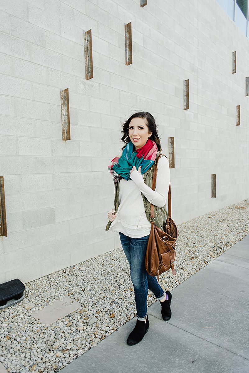 Fall to Winter Transition Outfit - How to Style a Cargo Vest, How to Style Booties, How to style Free People Thermal // Hey There, Chelsie