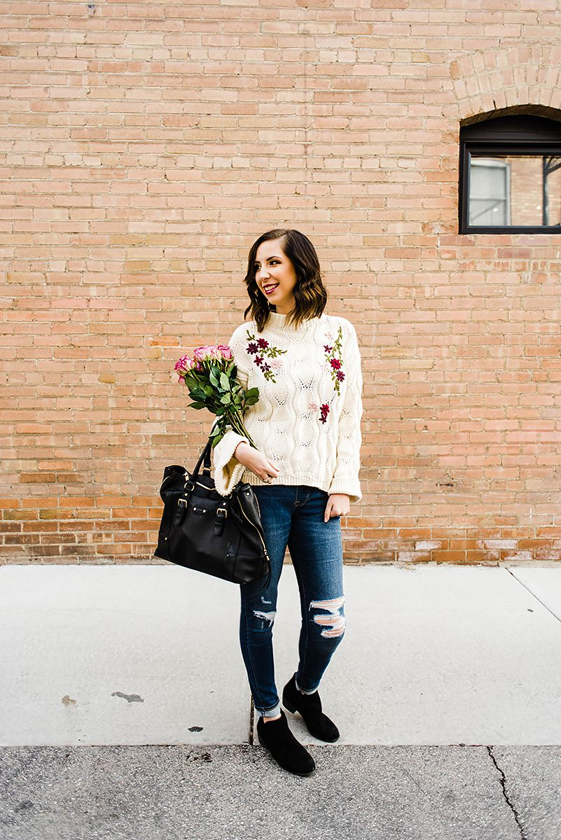 Casual Valentine's Day Outfit featuring an embroidered over-sized sweater and distressed denim // Hey There, Chelsie