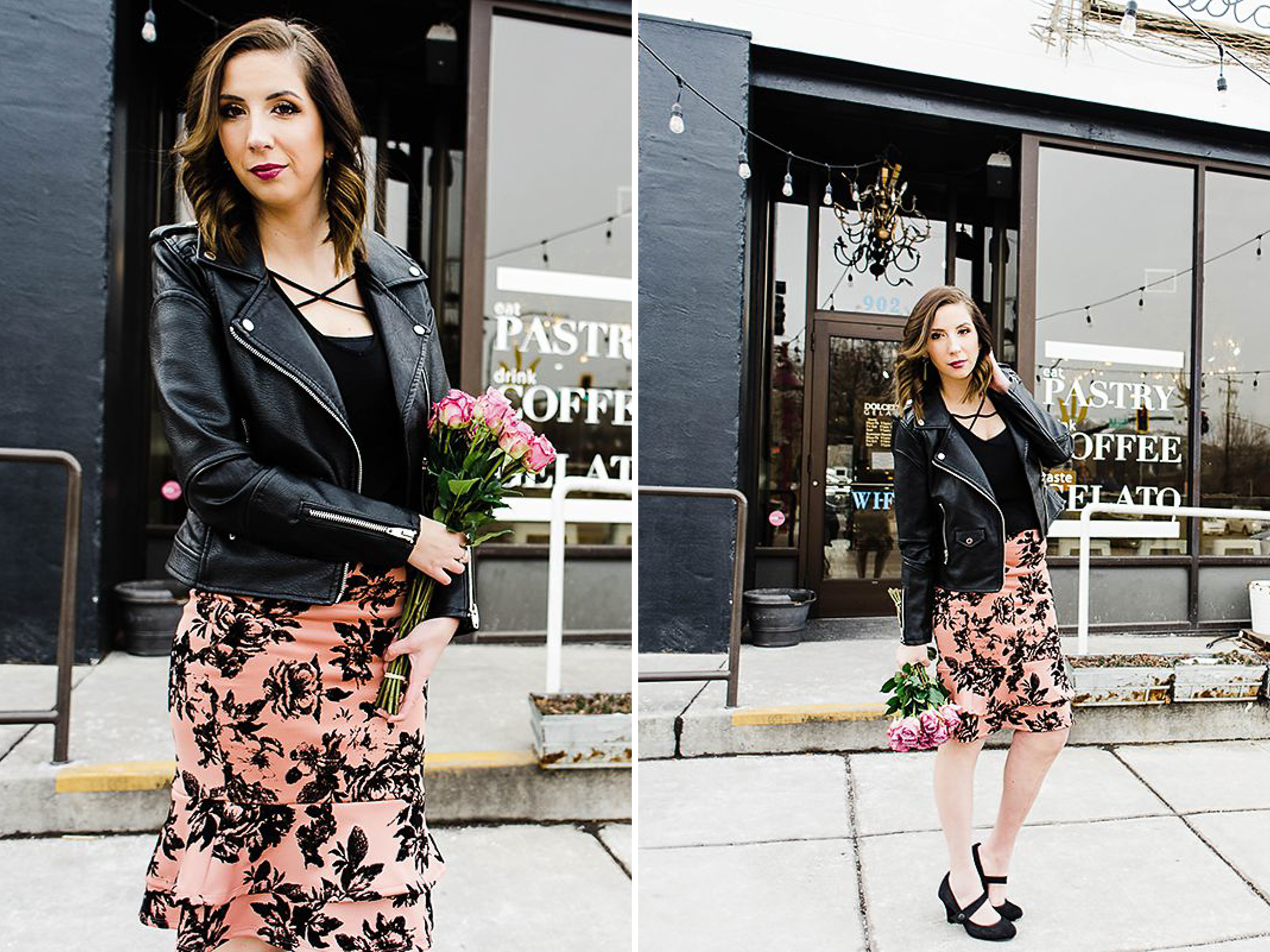 Edgy Valentine's Day Outfit Idea featuring a leather jacket and pencil skirt // Hey There, Chelsie