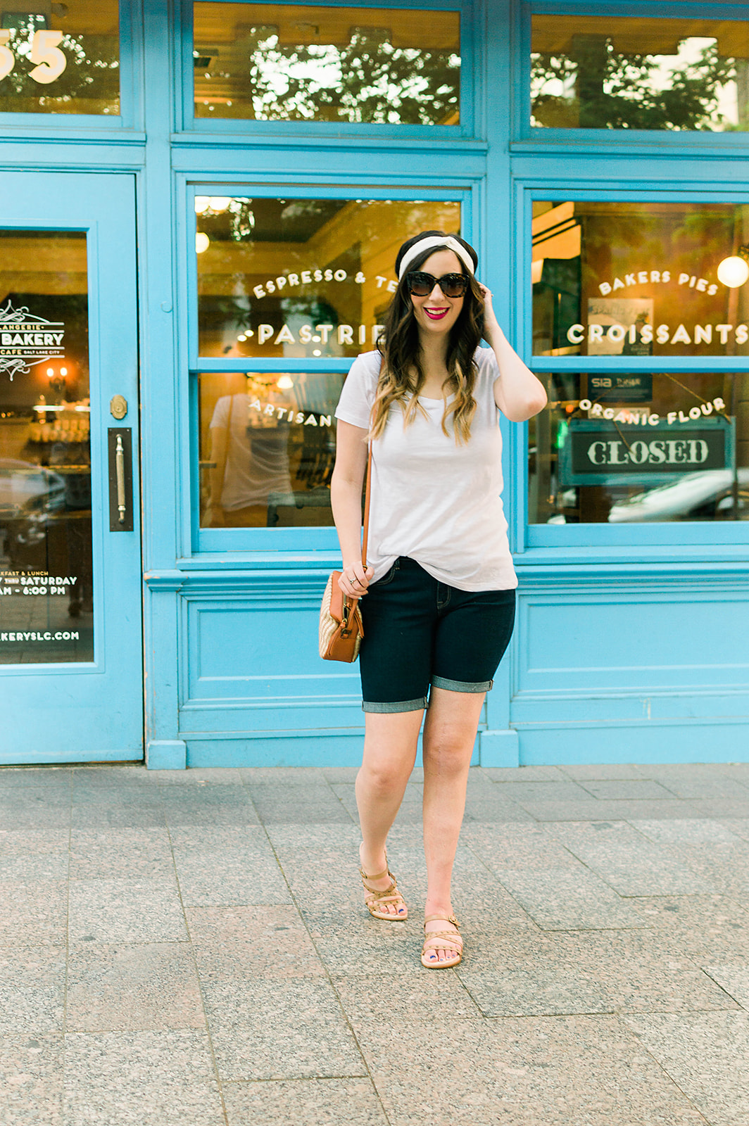 Casual modest summer outfit idea - how to wear bermuda shorts // Hey There Chelsie - A Salt Lake City Lifestyle Blog