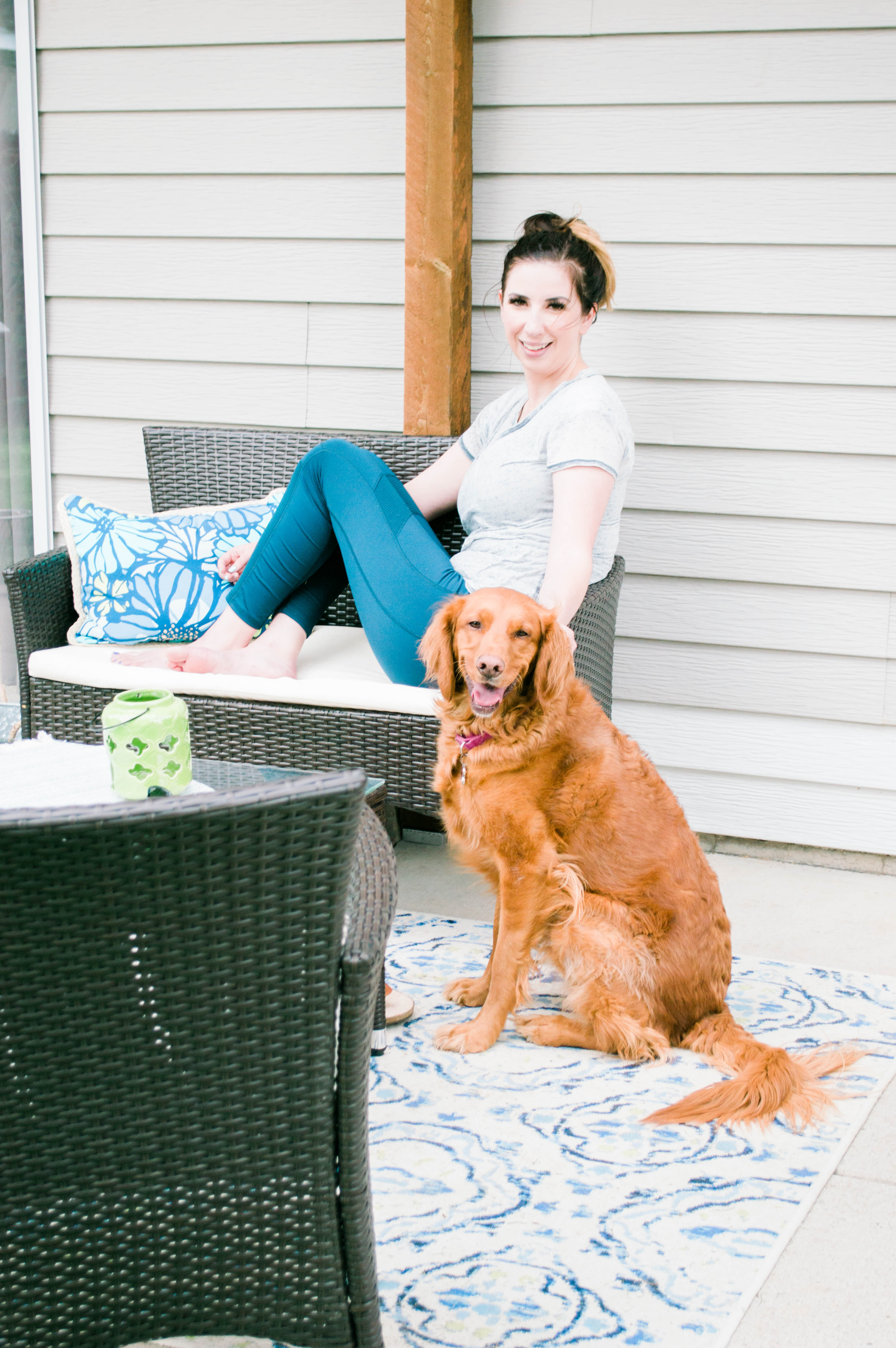 Affordable Patio Set and Patio Idea for your backyard - this backyard patio transformation includes affordable patio furniture and a DIY Pergola project // Hey There, Chelsie