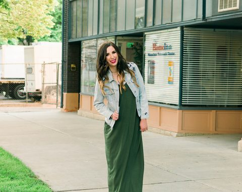 Green Maxi Dress and Denim Jacket Outfit Idea // Hey There, Chelsie