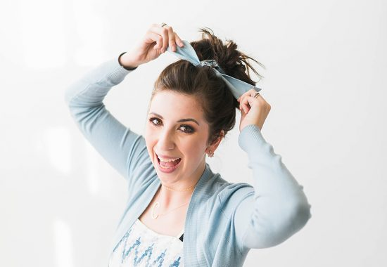 How to Wear a Hair Scarf in a Messy Bun - this hair scarf style is easy to achieve and perfect summer hairstyle! // Hey There, Chelsie - a Utah Lifestyle Blog