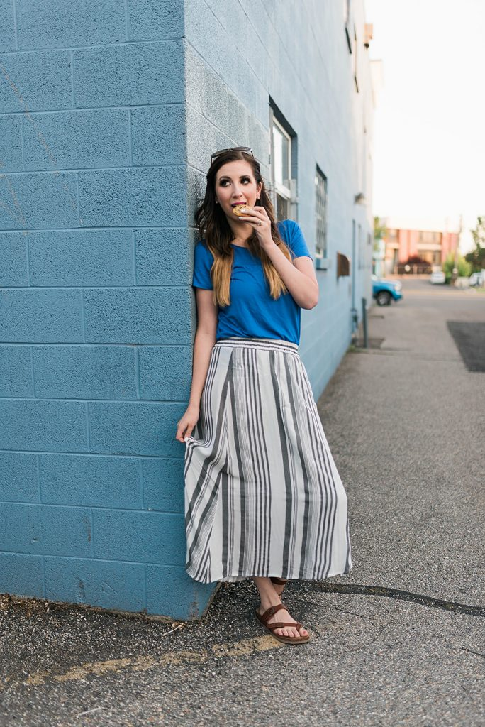 Cute Summer Outfit Idea featuring a striped maxi skirt and cobalt blue top | Monthly Motto - inspirational motto and quote for the month // Hey There, Chelsie