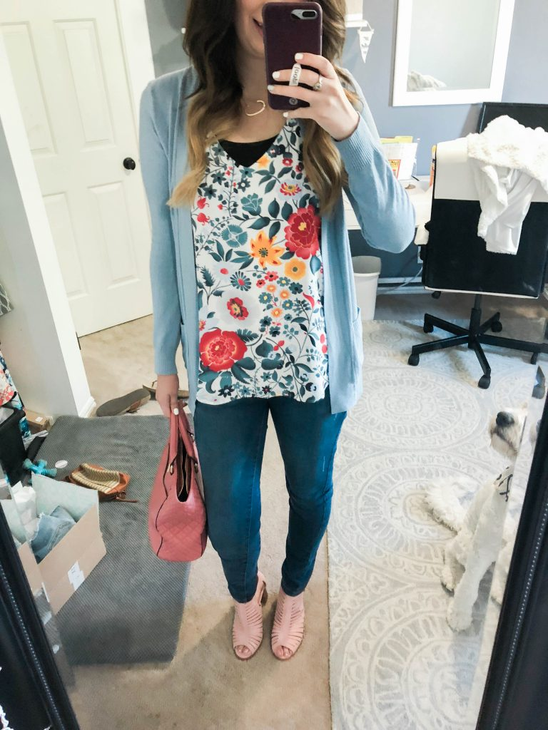 Summer Workplace Outfit idea - this cute outfit featuring a floral tank from loft and cardigan is perfect for the office during the summer // Hey There, Chelsie