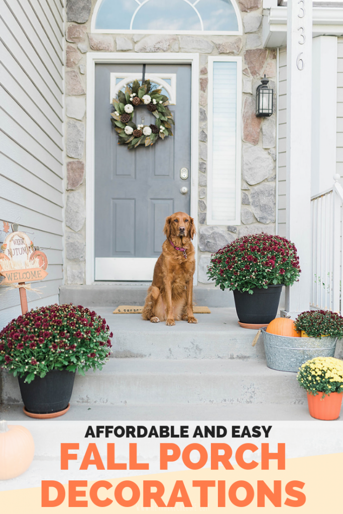 How to decorate your front porch for fall - including easy and affordable fall decorations. This post has great fall decoration ideas for your front porch that won't break the bank - showing how to decorate using mums! // Hey There, Chelsie