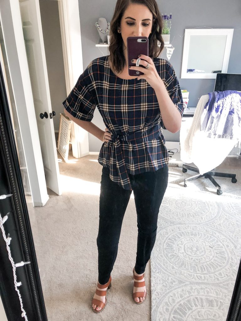 Julianne Tie Front Cuffed Sleeve Blouse - Fall 2018 Stitch Fix Unboxing and Review // Hey There, Chelsie