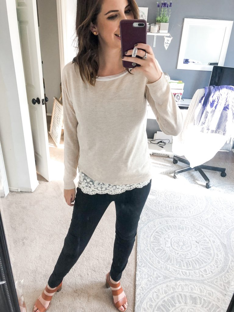 Tonie Lace Inset Pullover - Fall Stitch Fix Review and Try-on // Hey There, Chelsie