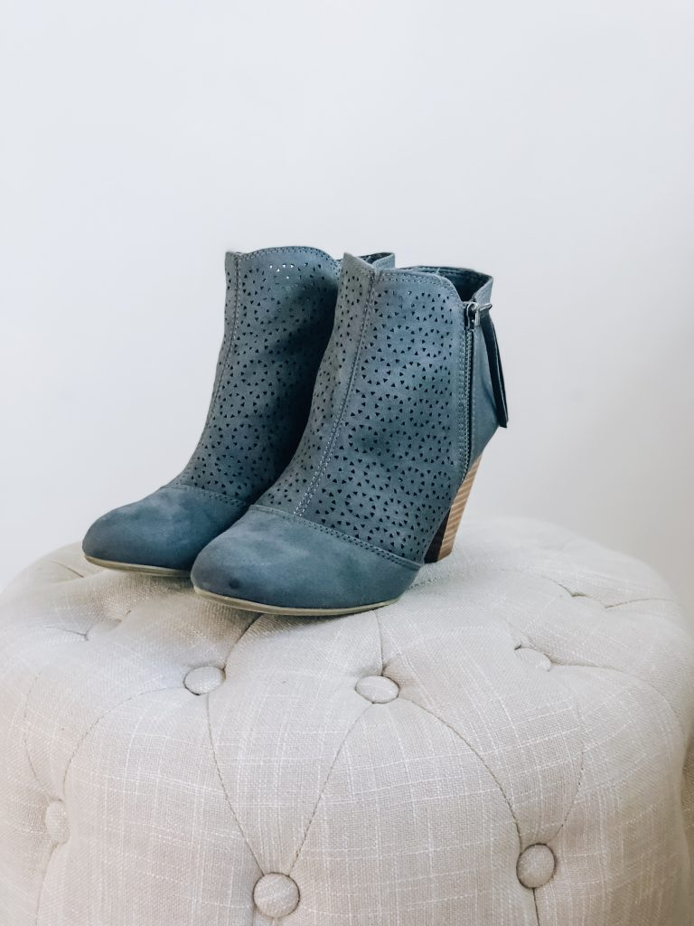 Merle Faux Suede Perforated Bootie - Fall Stitch Fix Review and Try-on // Hey There, Chelsie