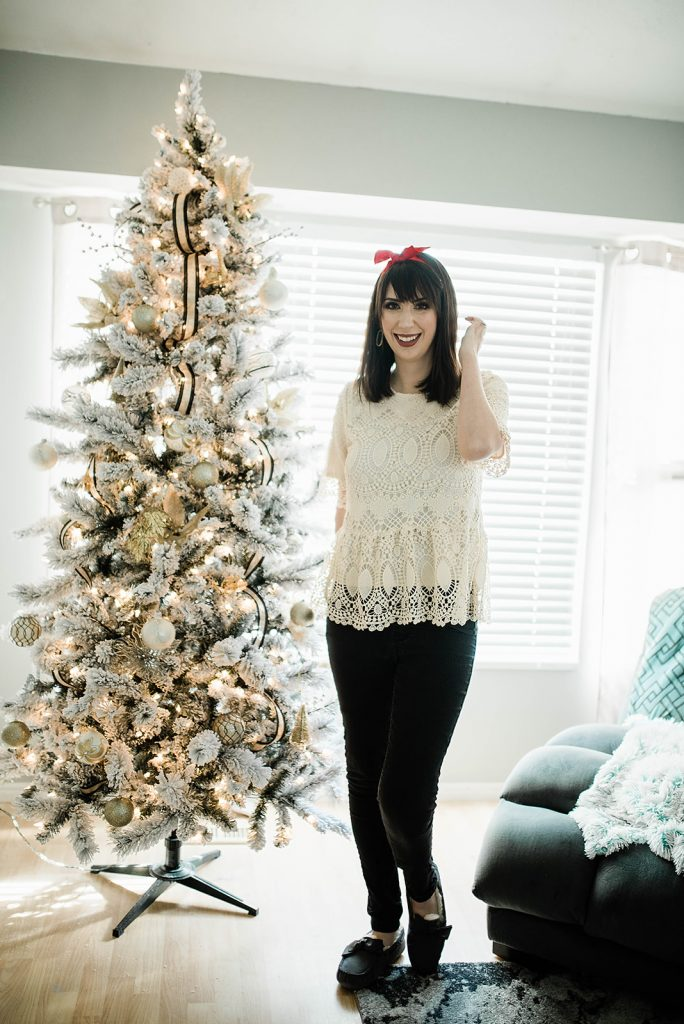 Lacey Christmas Outfit Idea, featuring this Polagram Lace Top from My Sister's Closet // Hey There, Chelsie