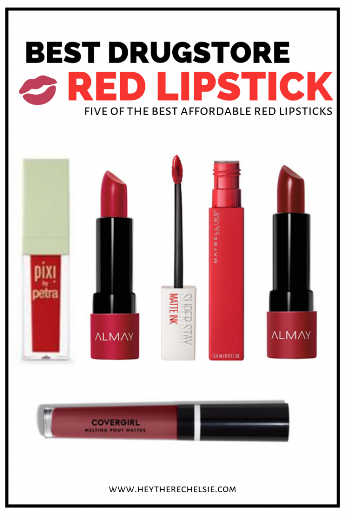 Rounding up five of the best everyday red lipsticks found at the drugstore, including the best Maybelline red lipstick! This list also features red lipstick from Almay, Pixi by Petra, and Covergirl. Read on if you want to discover some of the best cheap matte liquid lipstick!