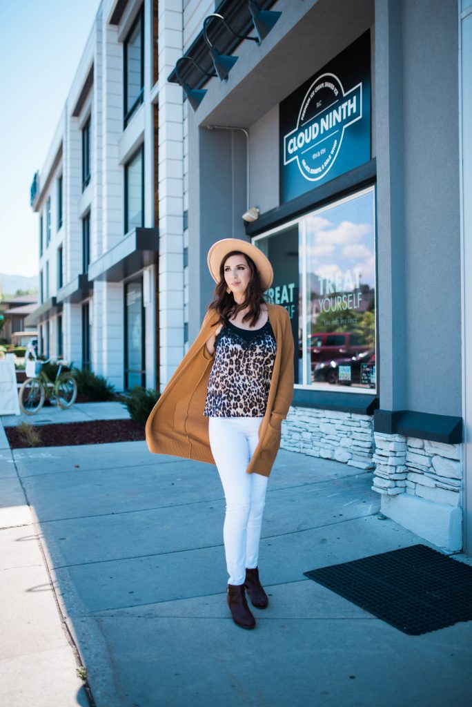 Summer to Fall Transitional Outfit Idea - outfit idea for fall weather featuring leopard and cardigan // Hey There, Chelsie