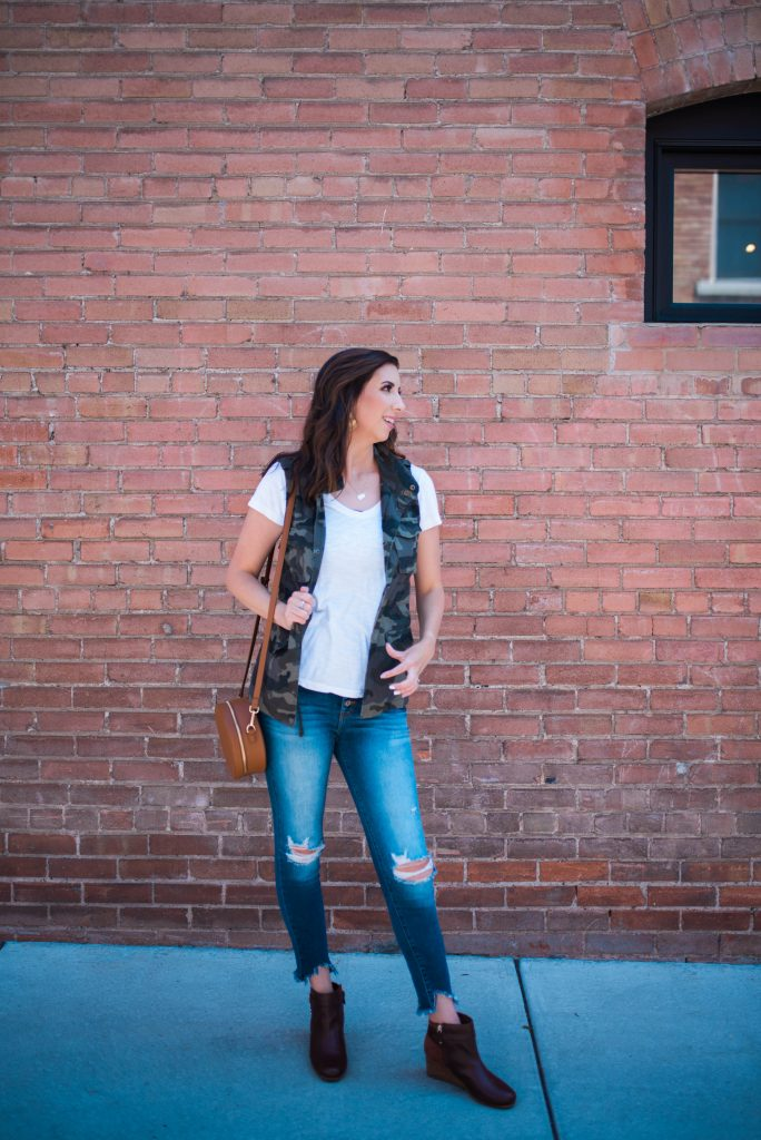 Summer to Fall Transitional Outfit idea. Early Fall outfit idea, how to wear a camo vest // Hey There, Chelsie